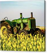 Tractor In A Field Canvas Print