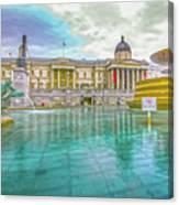 Trafalgar Square Fountain London 4 Canvas Print
