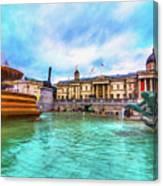 Trafalgar Square Fountain London 5 Art Canvas Print