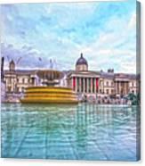 Trafalgar Square Fountain London 8 Canvas Print