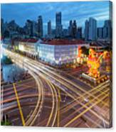 Traffic Light Trails In Singapore Chinatown Canvas Print