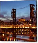 Traffic Light Trails On Steel Bridge Canvas Print