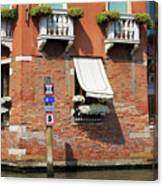 Traffic Signs On The Canal In Venice Italy Canvas Print