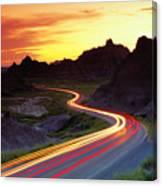 Traffice On Highway, Sunset (long Exposure) Canvas Print