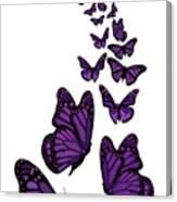Trail Of The Purple Butterflies Transparent Background Canvas Print