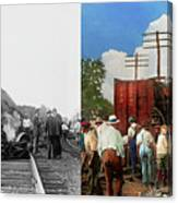 Train - Accident - Butting Heads 1922 - Side By Side Canvas Print