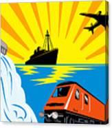 Train Boat Plane And Dam Canvas Print