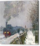 Train In The Snow Or The Locomotive Canvas Print