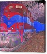 Train On Railroad Tracks - Abstract In Blue And Red Canvas Print
