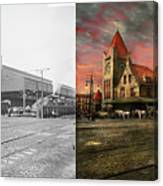 Train Station - Ny Central Railroad Depot 1905 - Side By Side Canvas Print