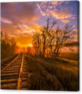Train Track Sunrise Canvas Print