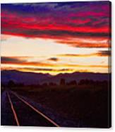 Train Track Sunset Canvas Print