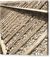 Train Tracks Sepia Triangular  Canvas Print