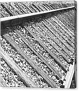 Train Tracks Triangular In Black And White Canvas Print