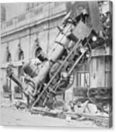 Train Wreck At Montparnasse Station Canvas Print