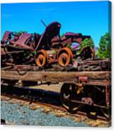 Train Wreckage On Flat Car Canvas Print