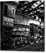 Trains 3007 C B Q Steam Engine Bw Canvas Print