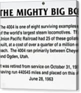 Trains Mighty Big Boy Signage Canvas Print