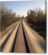 Trains Power Approaching The Crossing Canvas Print