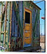 Trains Wooden Box Car Yellow Door Canvas Print