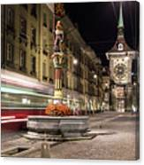 Tram Rushes In The Street Of Bern Canvas Print