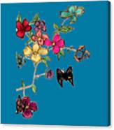 Transparent Flowers And Butterflies In Color Canvas Print