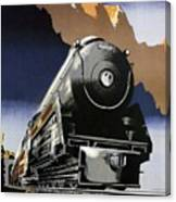 Travel Canadian Pacific Across Canada - Steam Engine Train - Retro Travel Poster - Vintage Poster Canvas Print