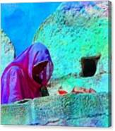 Travel Exotic Woman On Ramparts Mehrangarh Fort India Rajasthan 1e Canvas Print