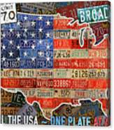 Travel The Usa One Plate At A Time License Plate Art By Design Turnpike Canvas Print