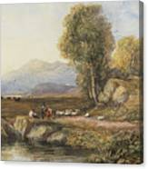 Travelers In A Welsh Landscape Canvas Print