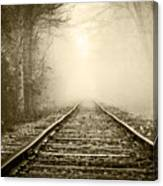 Traveling On The Tracks Antique Canvas Print