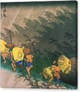 Travellers Surprised By Rain Canvas Print