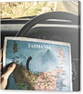 Travelling Tourist With Map Of Tasmania Canvas Print
