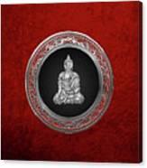 Treasure Trove - Silver Buddha On Red Velvet Canvas Print