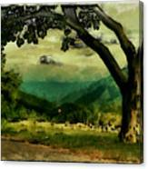 Tree And Mountain Canvas Print