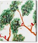 Tree And Red Birds 2 Canvas Print