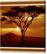 Tree At Sunset. L B With Decorative Ornate Printed Frame. Canvas Print