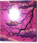 Tree Branch In Pink Moonlight Canvas Print