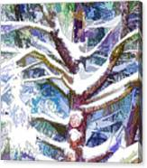 Tree Branches Covered By Snow In Winter Canvas Print