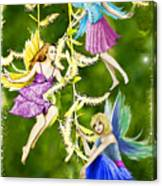 Tree Fairies On The Weeping Willow Canvas Print
