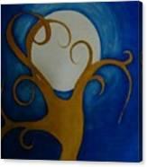 Tree In Moon Light Canvas Print