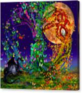 Tree Of Life With Owl And Dragon Canvas Print