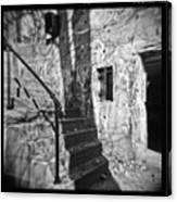 Tree Shadow , Doors And Stairs At The Elder Battery At Fort Delaware Canvas Print