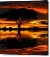 Tree Silhouette And Dramatic Sunset Canvas Print