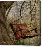 Tree Swing By The Lake Canvas Print
