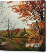 Trees Along The Canal Canvas Print