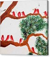 Trees And Red Birds 1 Canvas Print