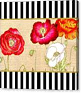 Trendy Red Poppy Floral Black And White Stripes Canvas Print