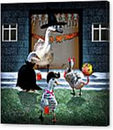 Trick Or Treat Time For Little Ducks Canvas Print