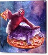 Trippy Space Sloth Turtle - Sloth Pizza Canvas Print
